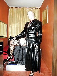 BBW Mature femdom pvc latex leather strapon 14